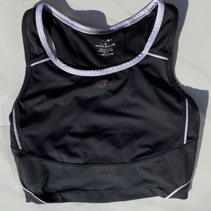 NEW BALANCE Black and White Sports Bra Crop Top